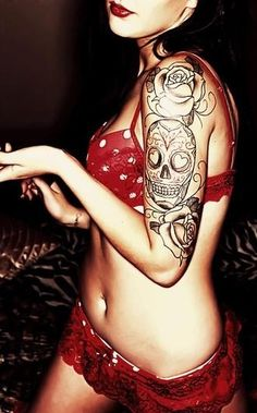 Skull Tattoo Designs for fashion girls.  #tattoo #design #girls www.loveitsomuch.com