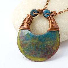 Enamel pendant yellow blue enamel necklace by jacquelinefouche