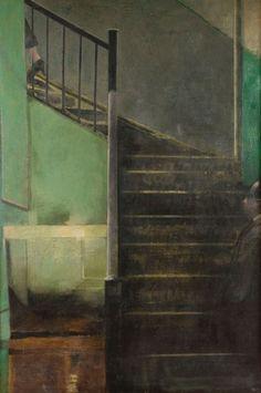 Francisco Pistolesi né en 1956 L'Escalier, 1987 Huile sur toile Signée, située « New York » et datée au dos 208 x 142 cm - Ader - 05/10/2015