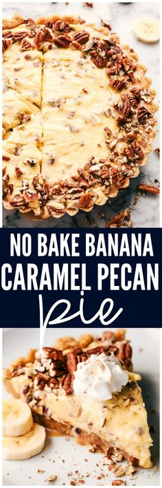 No Bake Banana Caramel Pecan Pie is made with a shortbread crust topped with caramel and a creamy banana filling with crunchy pecans. This makes one incredible no bake pie! #thinkfisher #ad