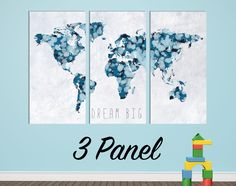 Bright hip colors world map wall canvas gallery wrap adhesive wall ink drop boys room world map wall canvas gallery wrap blue by wallmac on etsy gumiabroncs Choice Image
