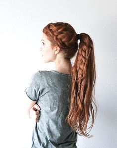 Different Hairstyles For Long Hair Double Braid Hairstyle Long Hair Ponytail Redhead The Freckled
