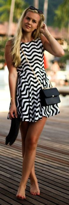 Wave Print Little Dress by Fanny Staaf