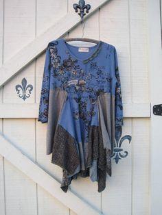 Boho tunic mini tunic rustic tattered gypsy by ShabyVintage