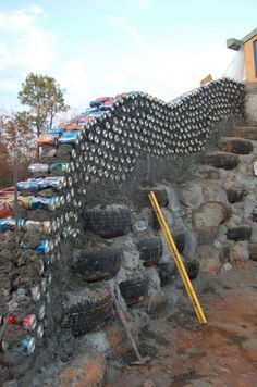 Georgia Earthship Images - Recycled tires and aluminum cans