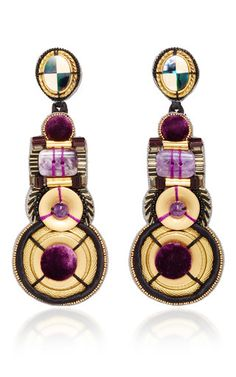 Amethyst And Mother Of Pearl Chandelier Earrings by NAEEM KHAN for Preorder on Moda Operandi