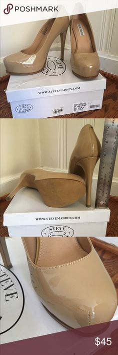 Steve Madden nude tan patent heels 8.5 Worn once, has scuff on inner left shoe (not terribly noticeable - see photo). I have kept them individually wrapped to avoid further scuffing during storage. Steve Madden Shoes Heels