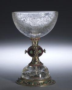 Austrian silver-gilt chalice:  rock crystal, gilded and enameled silver, pearls, emeralds, precious stones, Austria (Vienna), c1850 - 1875