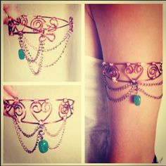 Handmade Wire Wrapped Copper Upper Arm Cuff with by LiveFreeLLC, $35.00