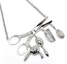 Hair Stylist Necklace Crystal Scissor Dryer Mirror Comb Brush Rhodium