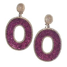 Pink Sapphire and Diamond Oval Earrings | From a unique collection of vintage dangle earrings at https://www.1stdibs.com/jewelry/earrings/dangle-earrings/