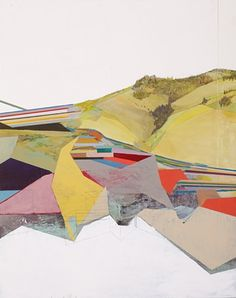 """I Can't Wait for Winter! 2011 Acrylic, pencil, Watercolor, Spar Varnish and Paper Mounted on Panel 23"""" x 34"""" CURLOWE"""