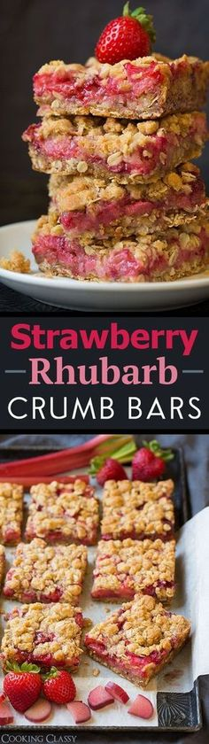 Strawberry Rhubarb Crumb Bars - one of my all time FAVORITE bar recipes!! I could stop eating them!