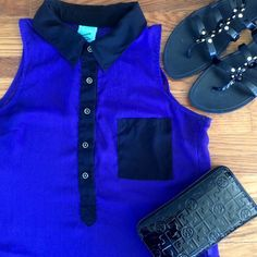 Sheer Hi Lo Tank This tank is perfect for a night out. The color is more of a purplish blue and is a hi lo design. Has two slits on the side and a small quarter sized patch of tiny pills, but hardly noticeable. Looks amazing with dark leggings and heels. Tops Tank Tops