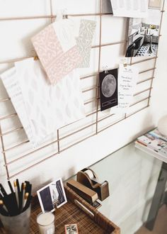 A DIY copper office wall organizer makes keeping family schedules easy & fashionable.