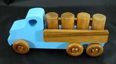 "Handmade Wooden Toy Trucks, Lorry Truck from The Quick N Easy 5 Truck Fleet, Designed to be easily hooked and towed with the Tow Truck. Size is approx. 5"" H x 3-1/2"" W x 9"" L, This is a test version that has been used by my tester and grandson. Toy for kids 3 years old and older. #odinstoyfactoy #handmade #handcrafted #woodentoy #toys #trucks"