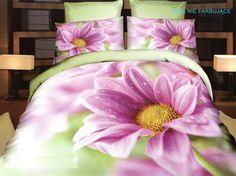 Pościele zielone na łóżko w różowe kwiaty