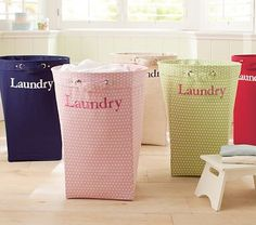 I want a DIY version of these Pottery Barn hampers in the laundry room, personalized with names--iron-on transfers onto inexpensive canvas?