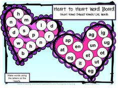 Valentine's Short Vowel CVC Games and Activities from Games 4 Learning. Board Games and worksheets for creating CVC words. $