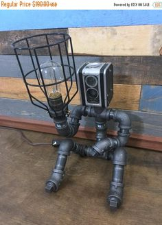 10% OFF Robot Lamp, Pipe Lamp, Industrial Decor, Steampunk Lighting, Pipe Decor, Man Cave, Pipe Furniture, Pipe lamp, Robot, Industrial Lamp by TheCleverRaven on Etsy