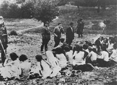 Jewish women lined up waiting to be shot at Babi YarWhen the fascists started searching, it was already late, he had reached the city and managed to hide away, thus Savertanny remained alive, but when it became known that one of the prisoners had run away the work was stopped and they shot fifteen other prisoners and we didn't know where they had put the guard who had made that mistake.  I believe that there isn't and cannot be more back-breaking and harder work than that of burning corpses…