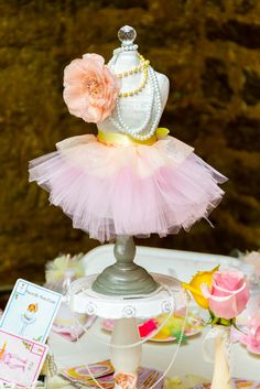 Lovely decor at a Sweet Ballerina 1st Birthday Party!  See more party ideas at CatchMyParty.com!  #partyideas #ballerina