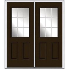 Milliken Millwork 60 in. x 80 in. GBG Right-Hand 1/2 Lite 2-Panel Classic Painted Fiberglass Smooth Prehung Front Door, Brown