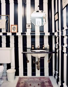 Painted stripes in a powder room