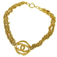 Chanel Vintage Gold CC Charm Double Strand Chain Link Choker Pendant Necklace  1990