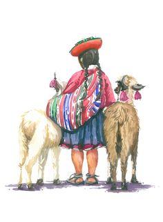 Niña peruana con 2 llamas. Acuarela - Watercolor by Isabel Mariasg.