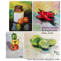 Watercolor Painting set of 4  By Yogini Joshi