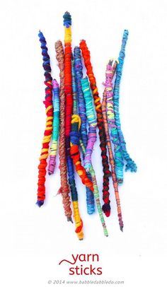 Crafts for Kids: Yarn Sticks - Babble Dabble Do Easy Crafts for Kids: Yarn Sticks. Make them as a standalone craft or for use in other projects.Easy Crafts for Kids: Yarn Sticks. Make them as a standalone craft or for use in other projects. Yarn Crafts For Kids, Craft Stick Crafts, Projects For Kids, Easy Crafts, Arts And Crafts, Craft Ideas, Creative Crafts, Autumn Crafts For Kids, Twig Crafts