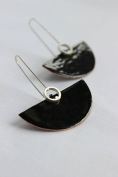 Deco earrings Sterling silver and copper with black by aforfebre, $30.00