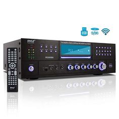 Pyle - Bluetooth Home Theater Preamplifier - Audio/Video Receiver System with Cd/dvd Player, Am/fm Radio, Reader Watt) Home Theater Receiver, Usb, 4 Channel, Stereo Speakers, Stereo Amplifier, Bluetooth, Karaoke Player, Electronics, Entertainment