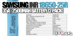 Samsung INR 18650-25R (2 Pack) $13.99 | GOTSMOK.COM Electronic Cigarette, Vape, Circuit, Packing, Samsung, Positivity, Smoke, Bag Packaging, Vaping