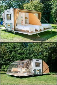 It's a mobile home that expands to three times it's towed area in just minutes! - Tiny Houses It's a mobile home that expands to three times it's towed area in just minutes! Know more about 'The Awning' by heading over to our site! Home Design, Tiny House Design, Design Ideas, Glamping, Tent Camping Beds, Mobile Living, Camper Hacks, Tiny House Living, Interior Design Living Room