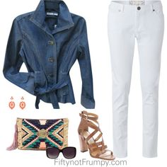Denim and White by fiftynotfrumpy on Polyvore featuring Chico's, White Stuff, Dolce Vita and Merona