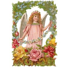Large Angel with Flowers Scrap ~ Germany