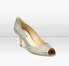 Jimmy Choo | Isabel | Glitter Fabric Peep Toe Pumps. Bridal shoes to die for.