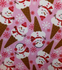 Snuggle Flannel Fabric-Snowman Cones
