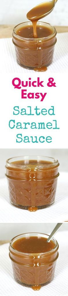 The easiest salted caramel sauce recipe ever! All you need is 4 ingredients and less than 10 minutes... and you definitely don't need a sugar thermometer!!