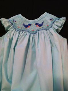 Smocked Bishop Bubble.  Smocking Plate is Little Babies in Their Nest by Pat Garretson Heirlooms