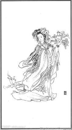白描 神仙 麻姑