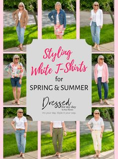 Styling White t-Shirts for Spring and Summer - how to wear a white t-shirt for spring and summer - styles for women over 50 Mom Style, Simple Style, Classic Style, Mom Outfits, Night Outfits, Spring Fashion Casual, White Shirts, Vintage Cotton, Style Guides