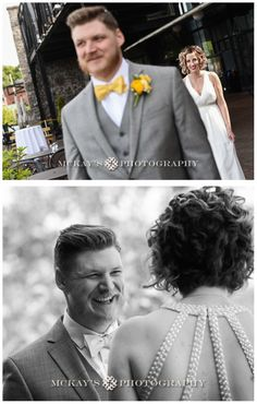 The First Look!! OMG! So much better than sharing the moment with everyone at the wedding!  documentary Rochester wedding photography at High Falls La Luna Restaurant with Jeri and Aaron by McKay's Photography