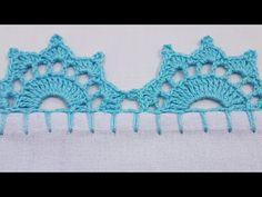 Tunisian Crochet Patterns, Crochet Lace Edging, Crochet Borders, Crochet Flower Patterns, Doily Patterns, Crochet Stitches, Knitting Patterns, Crochet Hats, Filet Crochet