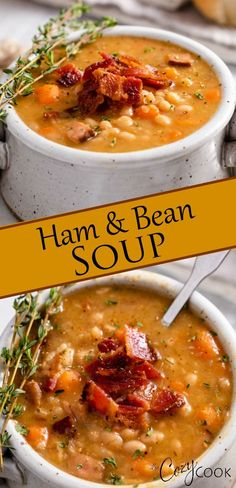 This easy Ham and Bean Soup recipe is so flavorful and can be made on the Stove . - This easy Ham and Bean Soup recipe is so flavorful and can be made on the Stove Top, Slow Cooker, o - Crock Pot Soup, Slow Cooker Soup, Slow Cooker Recipes, Crockpot Recipes, Cooking Recipes, Instapot Soup Recipes, Pressure Cooker Soup Recipes, Easy Ham And Bean Soup Recipe, Bean Soup Recipes