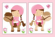 HORSEBACK RIDING ART Nursery Wall Prints Horse Pink Pony Girl Room Baby Nursery Childrens Equestrian Bedroom Kids Western Cowgirl Room Decor #decampstudios