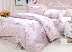 Pastoral Purple Floral 4 Piece Printing Cotton Bedding Sets Country Style