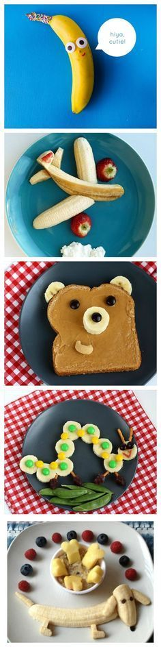 These are some great ideas for banana snacks for your kids! - These are some great ideas for banana snacks for your kids! Cute Snacks, Cute Food, Yummy Food, Party Snacks, Simple Snacks, Baby Food Recipes, Snack Recipes, Kid Recipes, Family Recipes